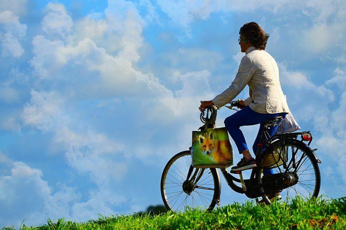 Eine Frau auf einem Fahrrad fährt vor blauem Himmel über einen Feldweg