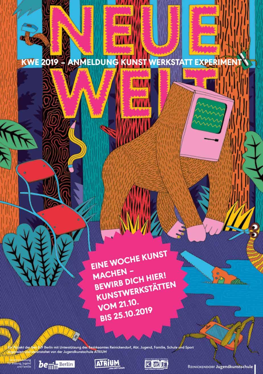 """Plakat der Ausstellung """"Neue Welt"""" im Atrium"""