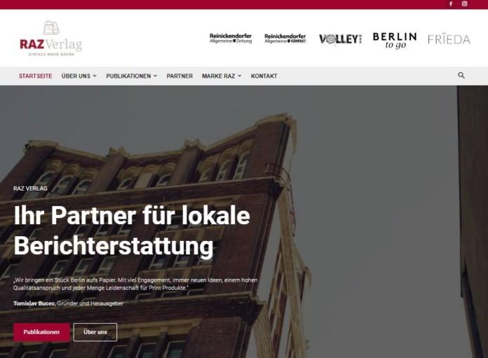 Screenshot der Startseite der künftigen Website www.raz-verlag.de