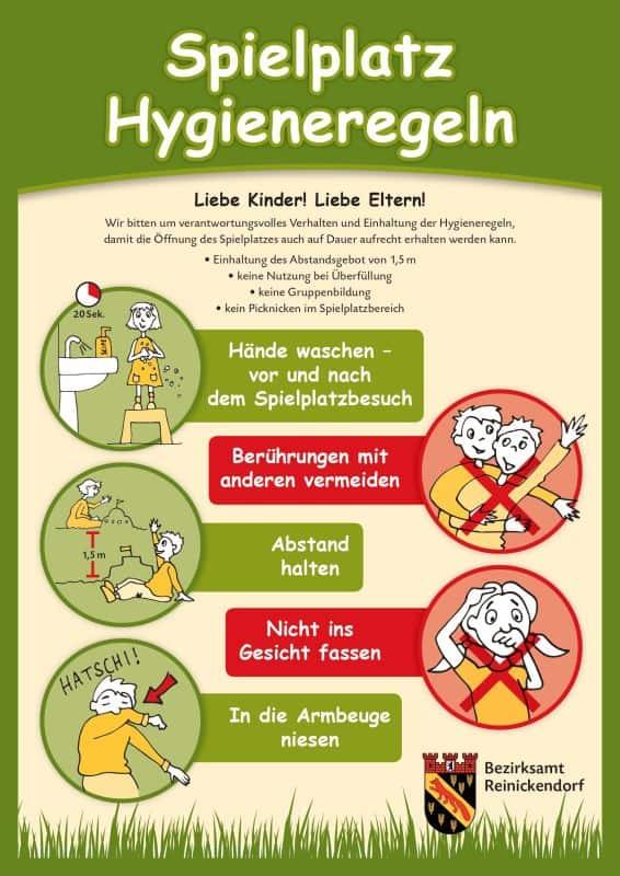 Plakat mit Spielplatzhygieneregeln