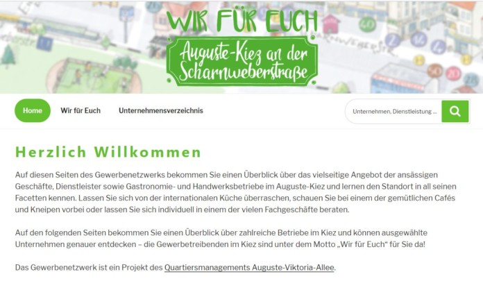 Screenshot der Website-Startseite augustekiez.de